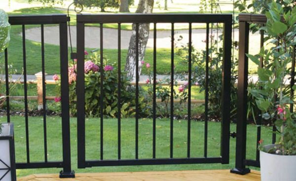 Black-Narrow-Picket-Gate-with-Railing