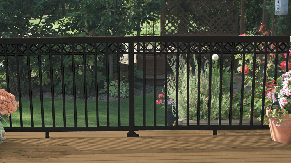 Black-Narrow-Picket-Railing-with-decorative-spacers-on-deck